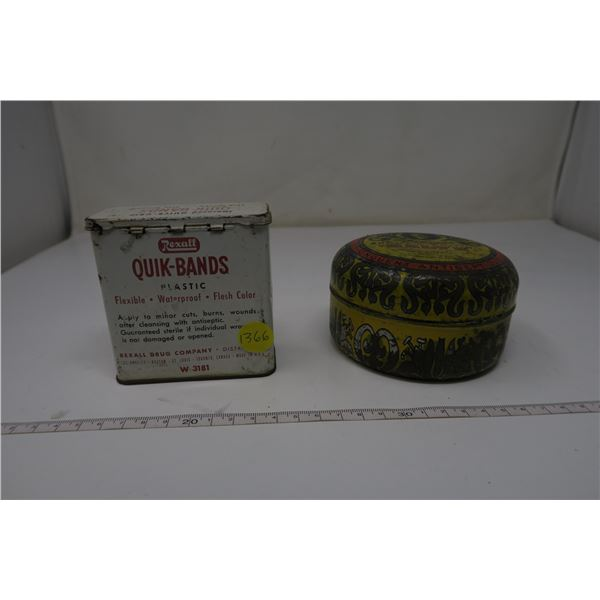 Household Tins Raleigh's Salve and Quick Brand Band Aids