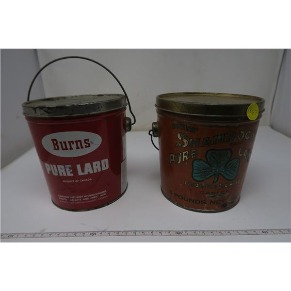 2 X Burns Lard Tins