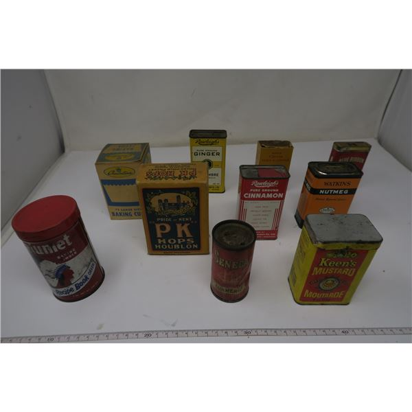 10 X Household Tins and Antique Kitchen Items