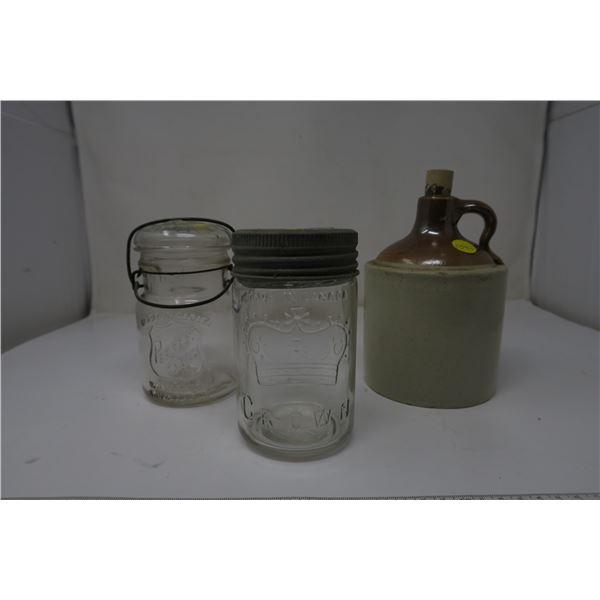 2 Mason Jars and a Clay Jug
