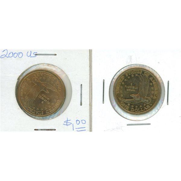 (2) 2000 USA One Dollar Coin