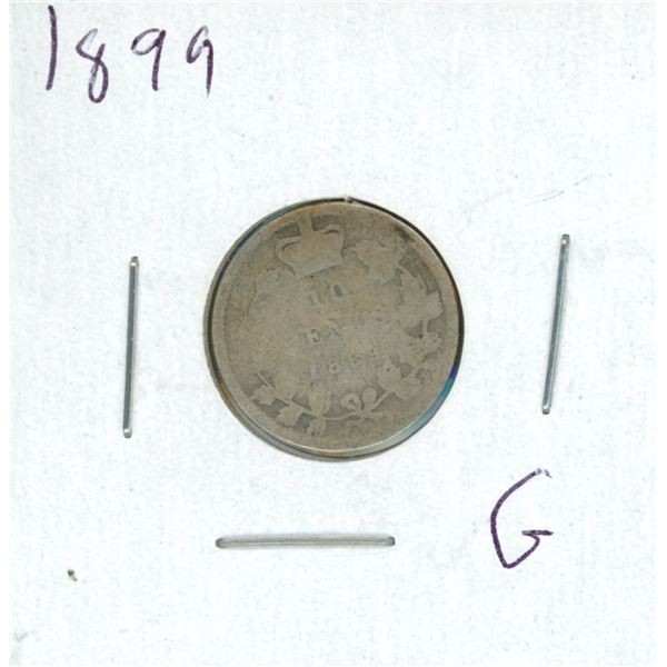 1899 Canadian Silver 10 Cent Coin (G)