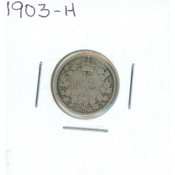 1903-H Canadian Silver 10 Cent Coin