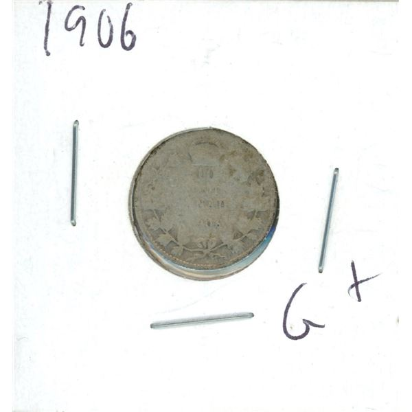 1906 Canadian Silver 10 Cent Coin (G+)