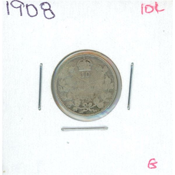 1908 Canadian Silver 10 Cent Coin (B)