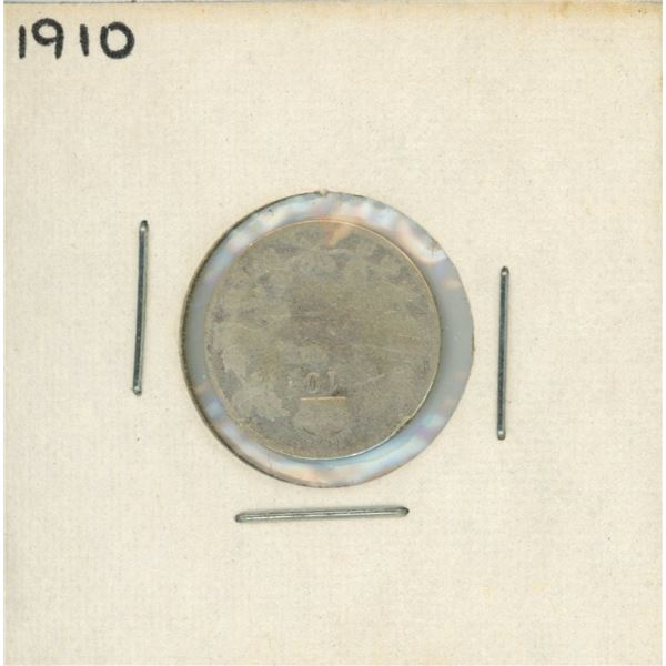 1910 Canadian Silver 10 Cent Coin