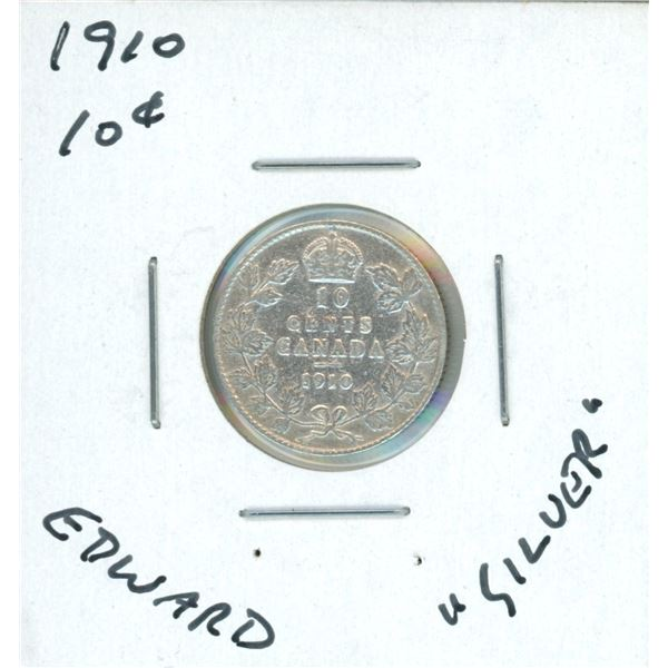 1910 Canadian Silver 10 Cent Coin (Edward)