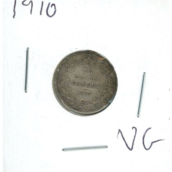 1910 Canadian Silver 10 Cent Coin (VG)