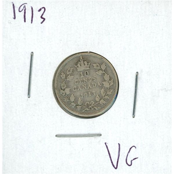 1913 Canadian Silver 10 Cent Coin (VG)