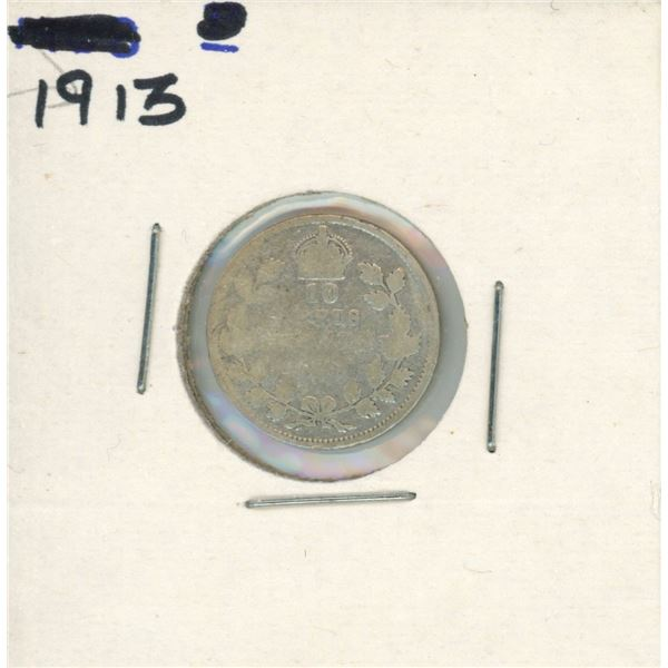 1913 Canadian Silver 10 Cent Coin