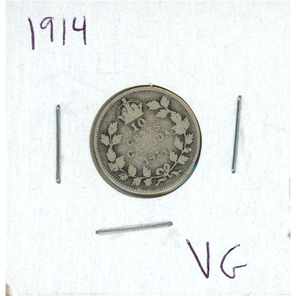 1914 Canadian Silver 10 Cent Coin (VG)