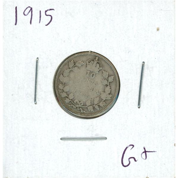1915 Canadian 10 Cent Coin (G+)