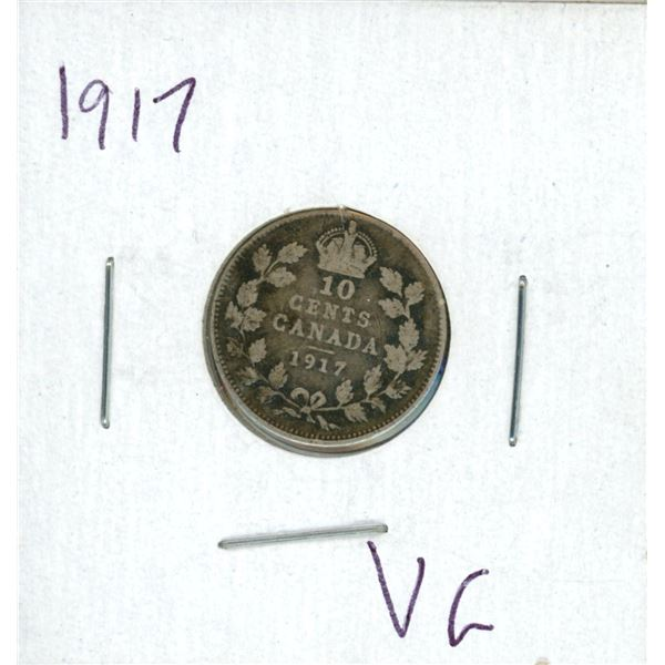 1917 Canadian Silver 10 Cent Coin (VG)