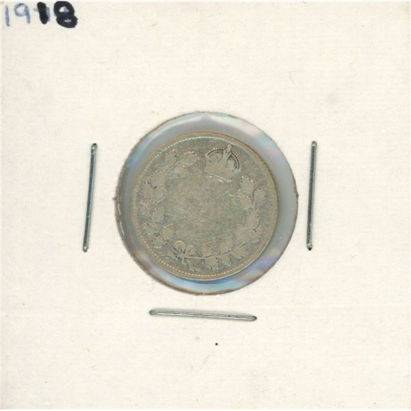 1918 Canadian Silver 10 Cent Coin