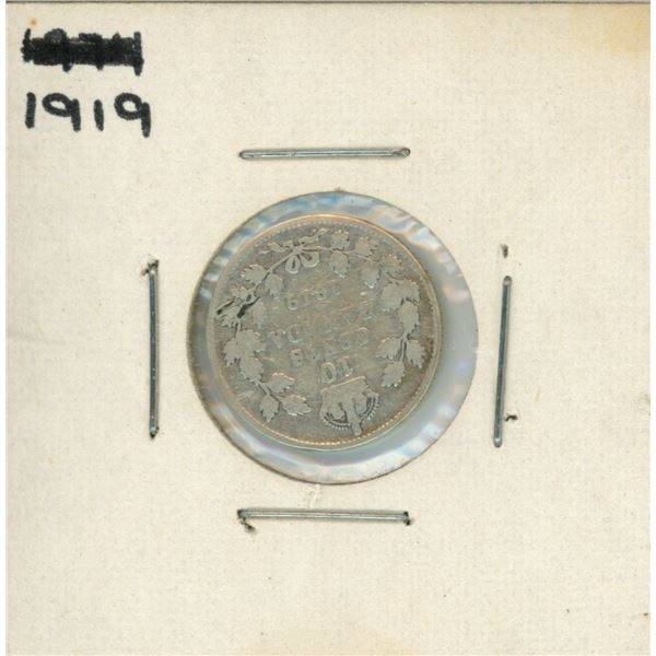1919 Canadian Silver 10 Cent Coin