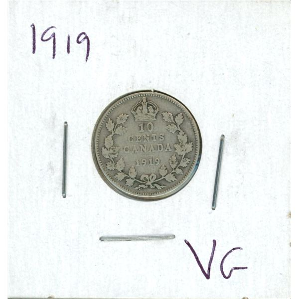 1919 Canadian Silver 10 Cent Coin (VG)
