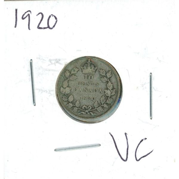 1920 Canadian Silver 10 Cent Coin (VG)