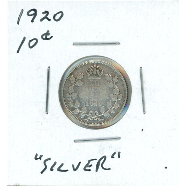 1920 Canadian Silver 10 Cent Coin