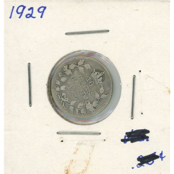 1929 Canadian Silver 10 Cent Coin