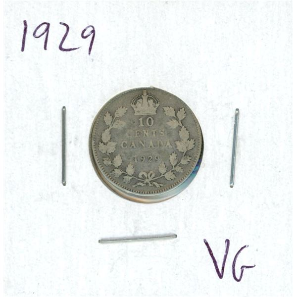 1929 Canadian Silver 10 Cent Coin (VG)