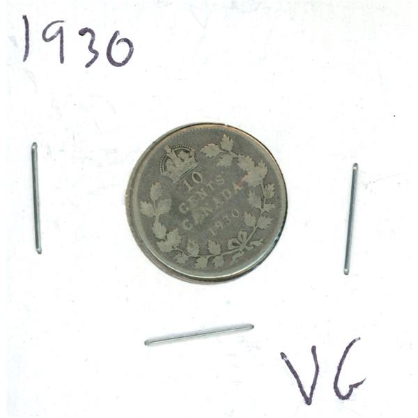 1930 Canadian Silver 10 Cent Coin (VG)