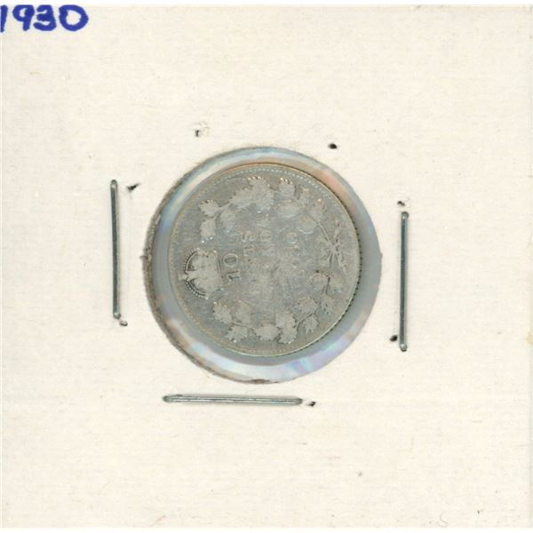 1930 Canadian Silver 10 Cent Coin