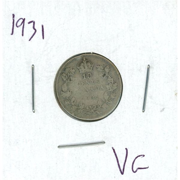 1931 Canadian Silver 10 Cent Coin (VG)
