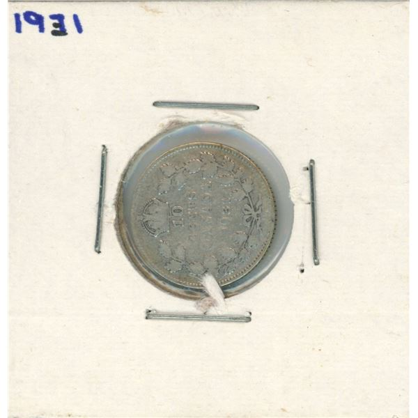 1931 Canadian Silver 10 Cent Coin