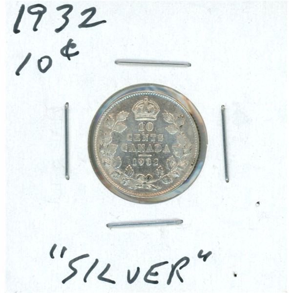 1932 Canadian Silver 10 Cent Coin