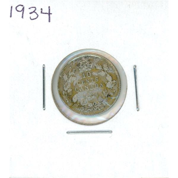 1934 Canadian Silver 10 Cent Coin