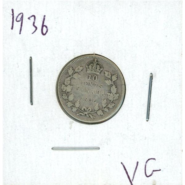 1936 Canadian Silver 10 Cent Coin (VG)