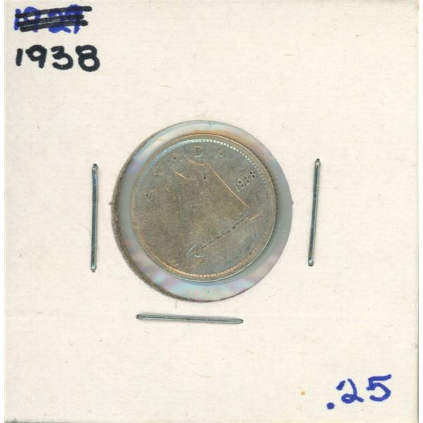 1938 Canadian Silver 10 Cent Coin