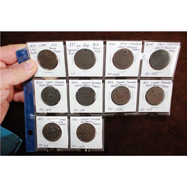 Cda One Penny Tokens (2)  & Upper Cda Half Penny Tokens (8)