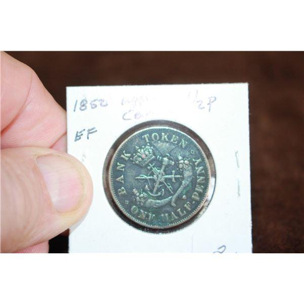 Canada Half Penny Token - 1852, EF