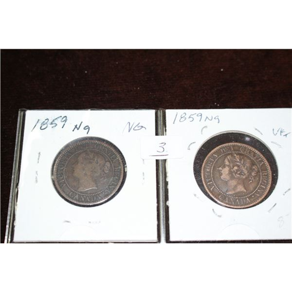 Canada Large Cent Coins (2) - 1859, Narrow 9, VG & VF+