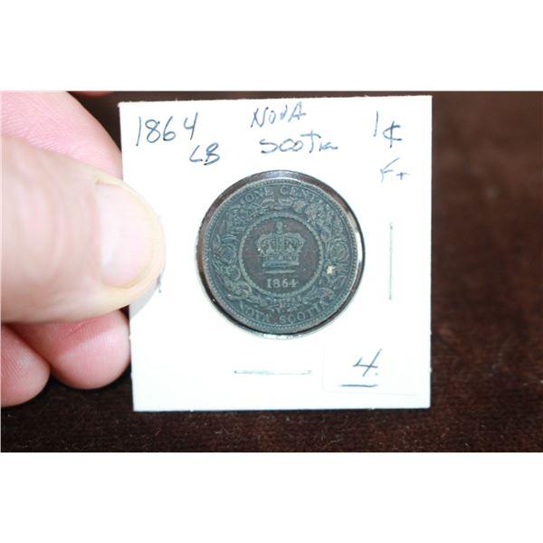 Nova Scotia Large One Cent - 1864, Large Beads, F+
