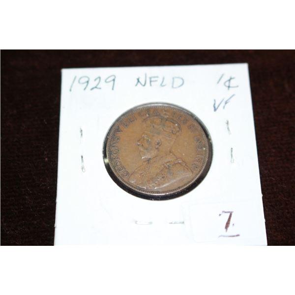 Newfoundland Large One Cent - 1929, VF