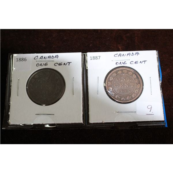 Canada Large One Cent Coins (2) - 1886, 1887