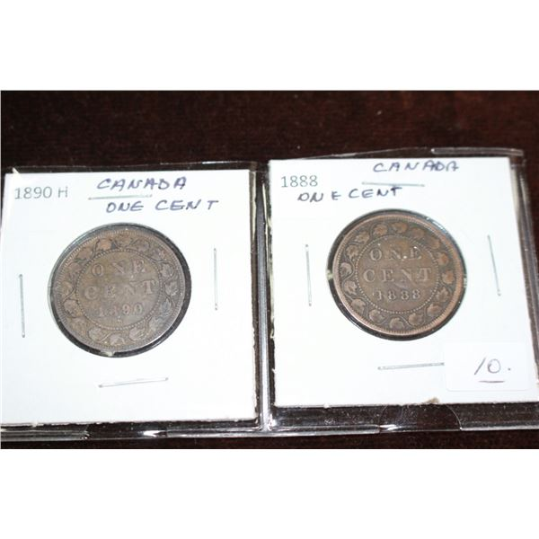 Canada Large One Cent Coins (2) - 1890H, 1888