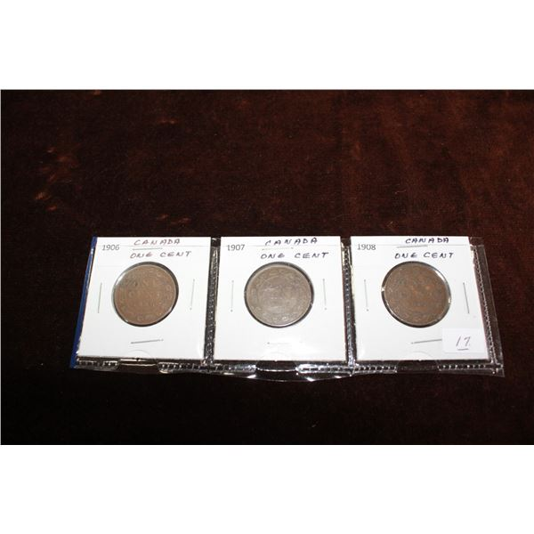 Canada Large One Cent Coins (3) - 1906, 1907, 1908