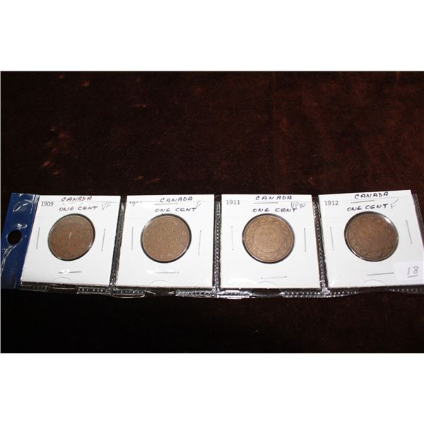 Canada Large One Cent Coins (4) - 1909, 1910, 1911, 1912