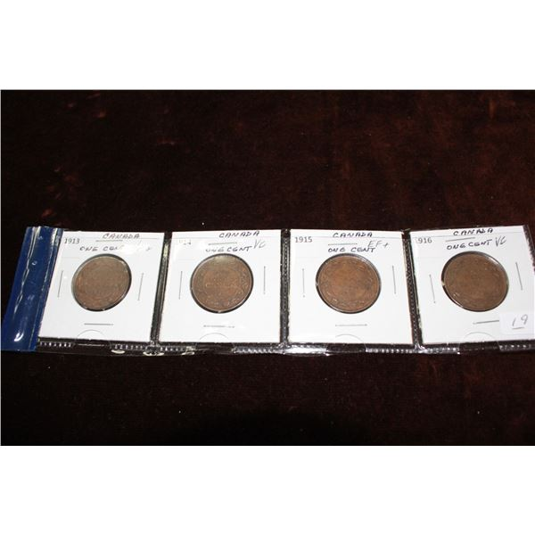 Canada Large One Cent Coins (4) - 1913 (VF+), 1914 (VF), 1915 (EF+), 1916 (VF)