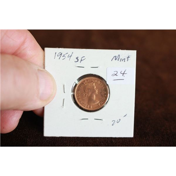 Canada One Cent Coin - 1954, SF, Mint State