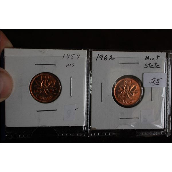 Canada One Cent Coins (2) - 1959 MS, 1962 Mint State