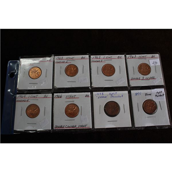 Canada One Cent Coins (8) - 1959 to 1973, All Coins have errors