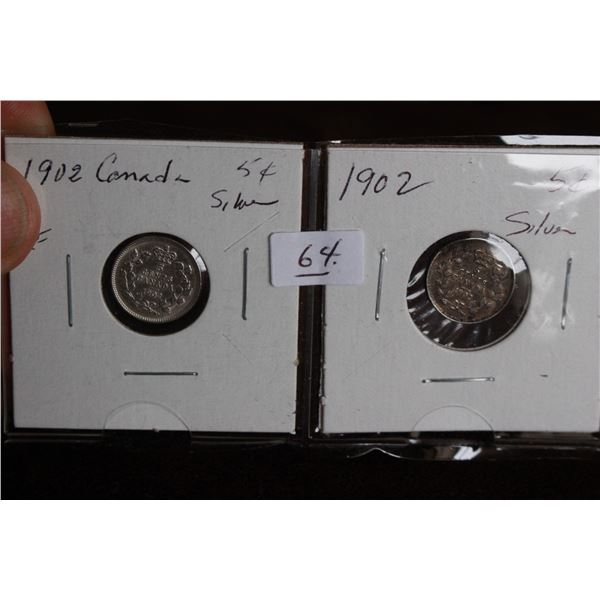 Canada Five Cent Coins (2) - 1902, VF, Silver