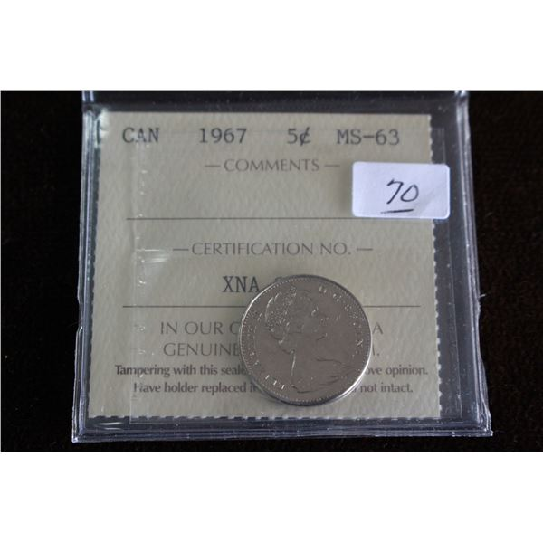 Canada Five Cent Coin - 1967, Graded MS63