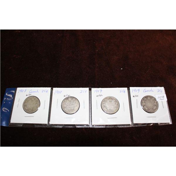 Canada Twenty-five Cent Coins (4) - 1907, 1910, 1917, 1919; Silver