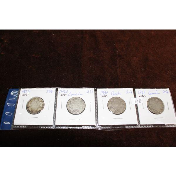 Canada Twenty-five Cent Coins (4) - 1919, 1920, 1920, 1921; Silver