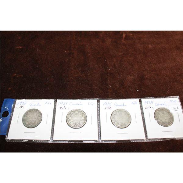 Canada Twenty-five Cent Coins (4) - 1920, 1921, 1928, 1929; Silver